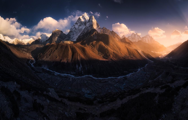 Фото обои горы, гора, долина, тибет