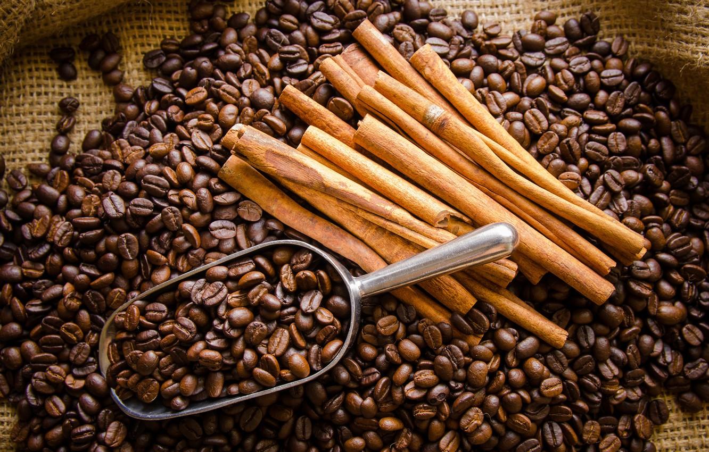 Фото обои кофе, корица, зёрна