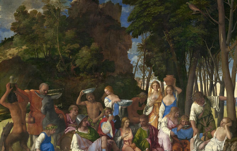 Фото обои аллегория, 1514-1529, ТИЦИАН, Пир богов, мифологический сюжет, совместно с Джованни Беллини