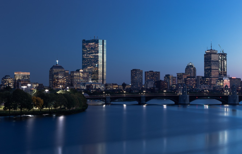 Фото обои city, lights, USA, sky, trees, bridge, water, night, Boston, park, buildings, architecture, skyscrapers, Massachusetts, cityscape, …