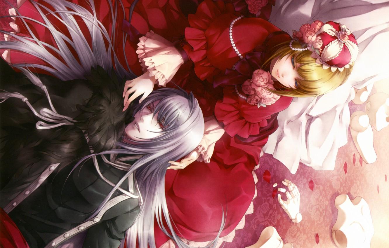 Фото обои корона, красное платье, лепестки роз, марионетка, visual novel, will o`wisp, ignis, hanna ellington, длинные белые …