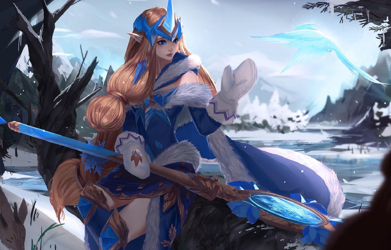 Фото обои зима, снег, лёд, мантия, мех, посох, рыжая, диадема, art, варежки, League of Legends, Лига Легенд, …