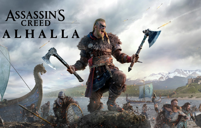 Фото обои игры, замок, axe, топор, воины, games, викинг, viking, драккары, eivor, valhalla, assassin's creed valhalla, эйвор