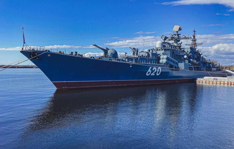 Фото обои Россия, Финский залив, корабль-музей, эскадренный миноносец, Кронштадт, Эсминец Беспокойный