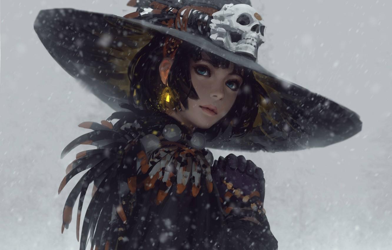 Фото обои снег, стрижка, череп, перья, голубые глаза, серый фон, серьга, в шляпе, портрет девушки, печатки, Guweiz