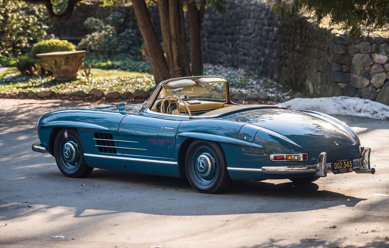 Фото обои Roadster, Blue, Retro, 1962, Mercedes-Benz 300 SL