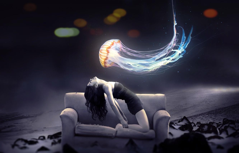 Фото обои природа, диван, медуза, боке, девушка art