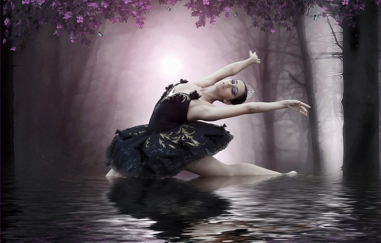 Фото обои девушка, озеро, балерина, фотоарт
