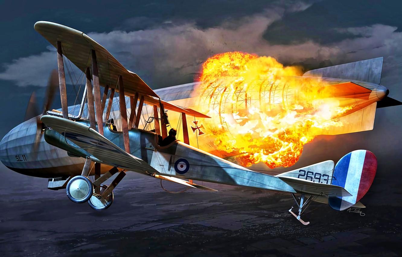 Фото обои Огонь, Взрыв, Биплан, Дирижабль, WWI, Royal Aircraft Factory, B.E.2C
