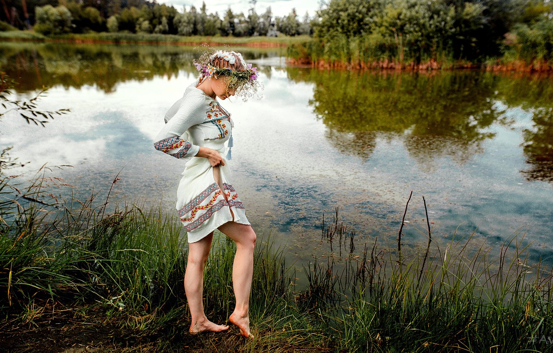 Фото обои вода, Девушка, венок, Aleksandr Suhar, Алёна Цуркан
