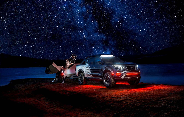 Фото обои ночь, звёзды, подсветка, Nissan, пикап, прицеп, 2018, Navara, Dark Sky Concept