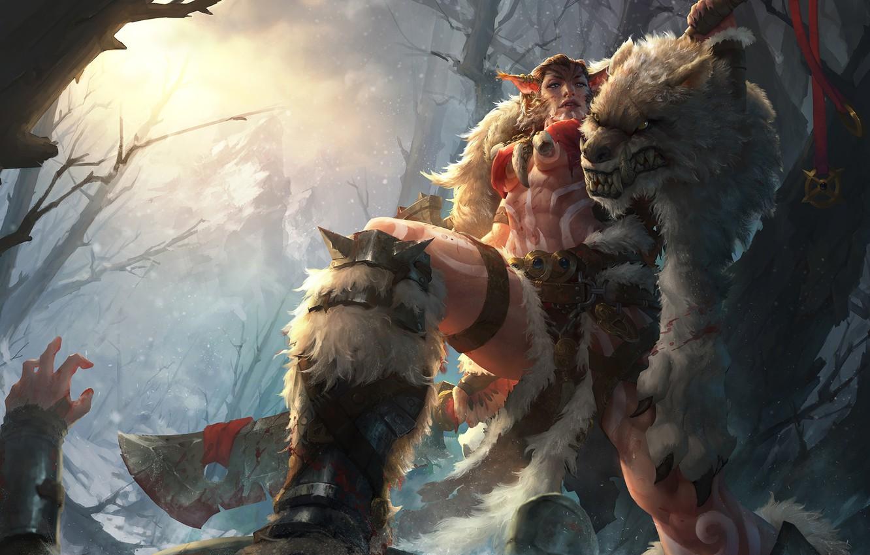 Фото обои лес, фэнтези, арт, шкура, плащ, охотница, Beastmaster, TONG YAN