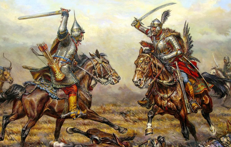 Фото обои кони, доспехи, битва, воины, поляк, гусар, русичь