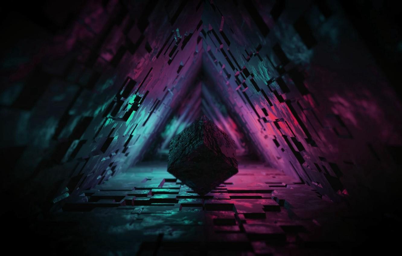 Фото обои lights, dark, figure, tunnel, 3d, 3d cube