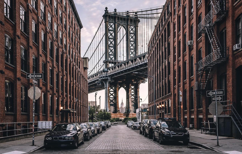 Фото обои United States, New York, Manhattan Bridge, Dumbo