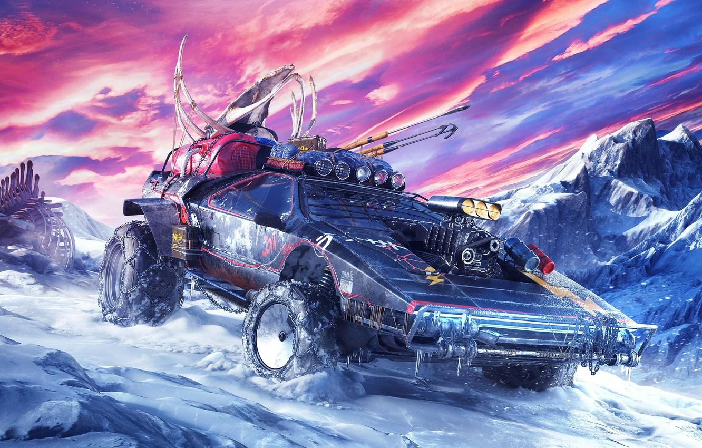 Фото обои холод, машина, небо, снег, фантастика, планета, арт, sci-fi