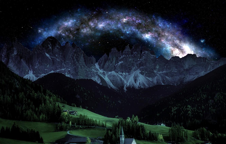 Фото обои небо, горы, ночь, италия, альпы