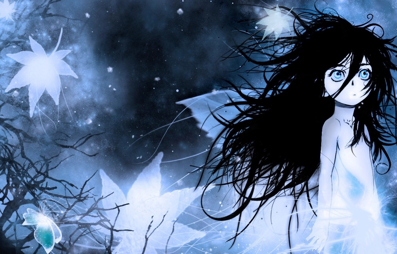 Фото обои холод, ночь, туман, одиночество, страх, малышка, Berserk, Берсерк, большие глаза, растрепанные волосы