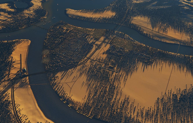 Фото обои зима, лес, закат, cities skylines