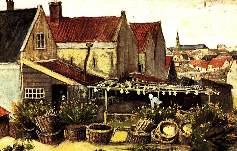 Фото обои домики, кусты, корзины, Vincent van Gogh, Fish-Drying Barn