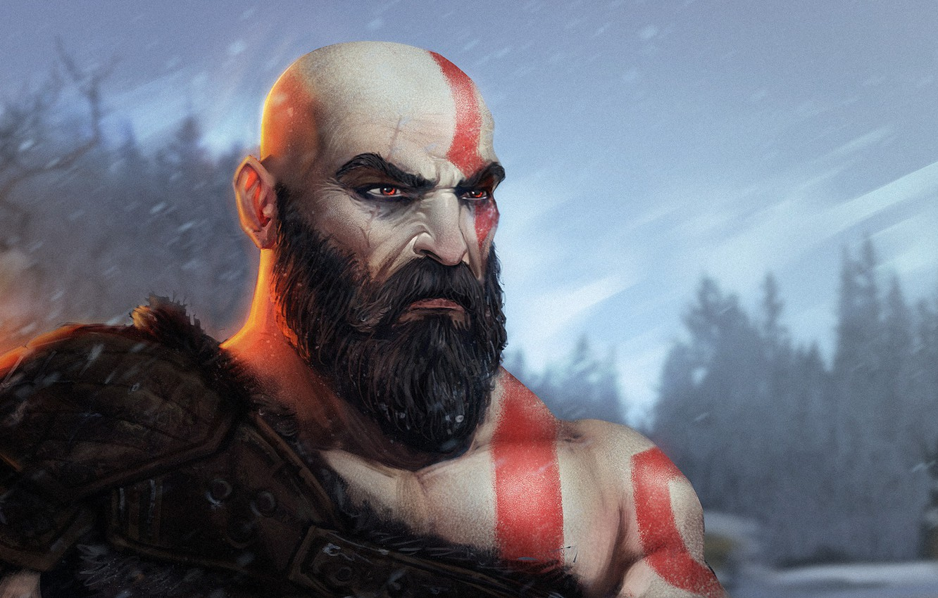 Фото обои Рисунок, Игра, Арт, Kratos, God of War, Characters, by Guilherme Freitas, Guilherme Freitas, Kratos fanart