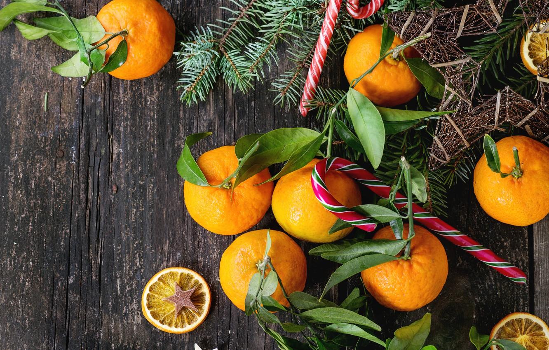 Фото обои украшения, Новый Год, Рождество, Christmas, wood, fruit, New Year, мандарины, decoration, tangerine, Merry, fir tree, …
