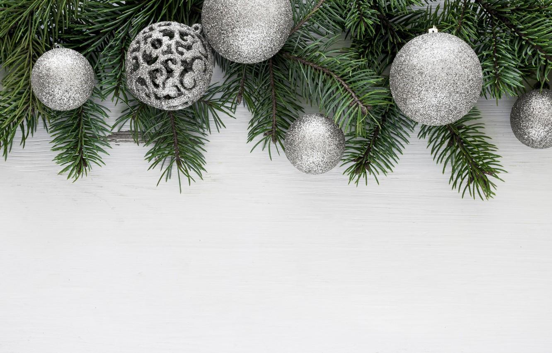 Фото обои украшения, шары, Рождество, Новый год, christmas, balls, wood, decoration, frame, fir tree, ветки ели