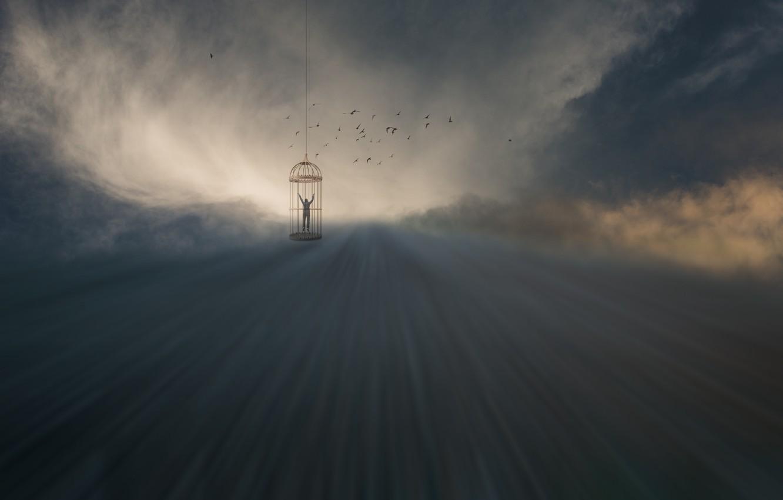 Фото обои облака, лучи, птицы, человек, клетка, clouds, birds, rays, man, cage, Uschi Hermann