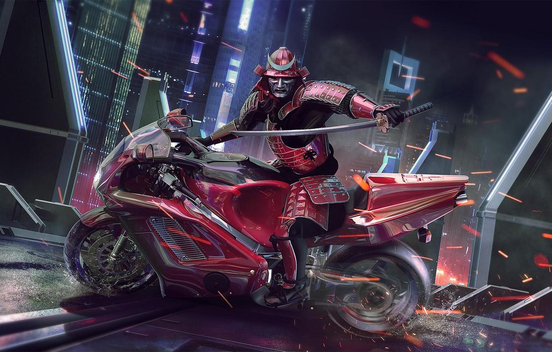 Фото обои Moto, Samurai, warrior, Sci Fi