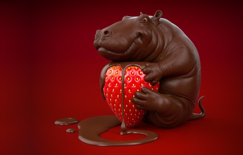 Фото обои рендеринг, настроение, сладость, еда, шоколад, клубничка, вкусняшка, виктория, гиппопотам, ягодка, бегемотик, земляничка, каппля, Chocolate hippo, ...