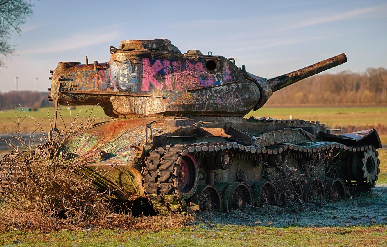 Фото обои ржавчина, танк, M47, Patton II