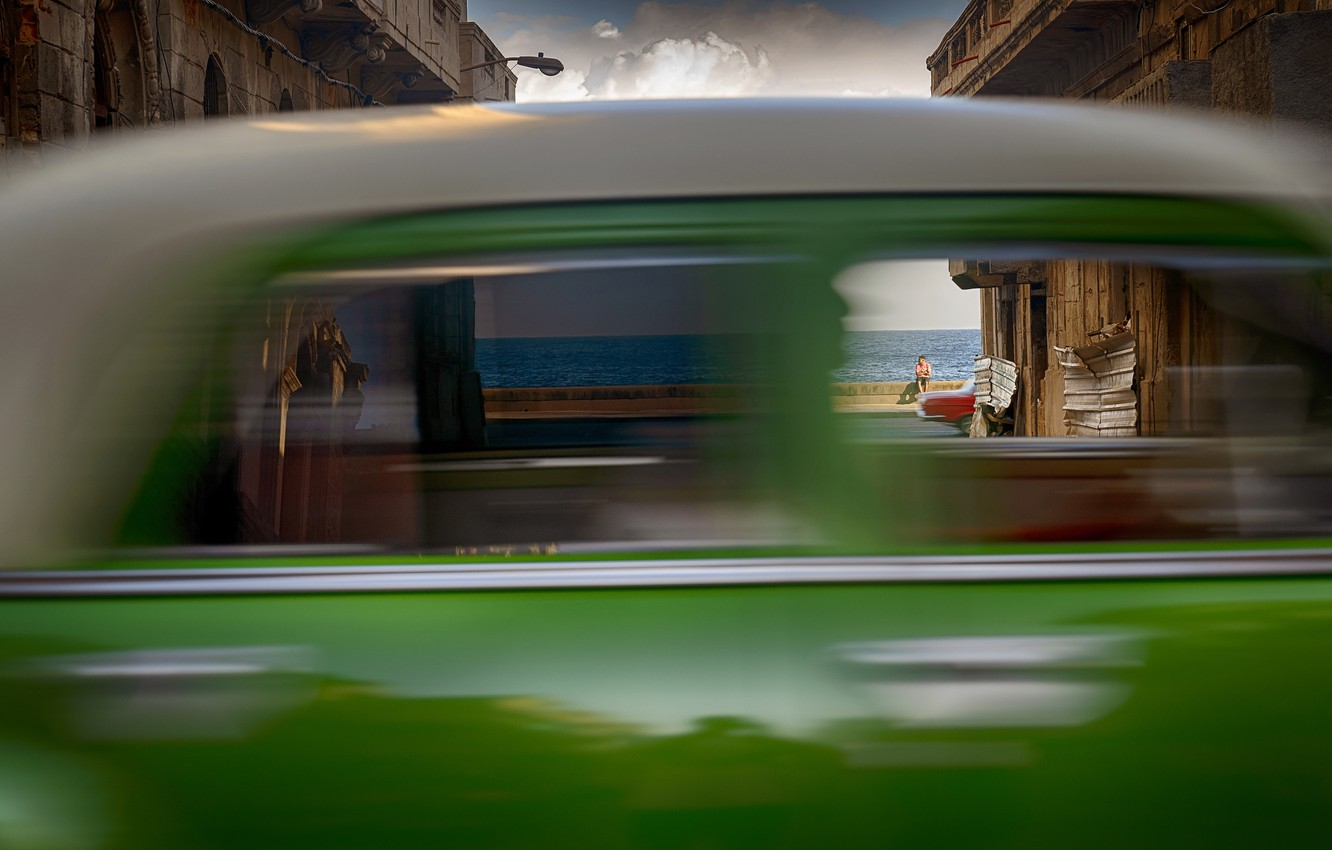 Фото обои море, car, движение, размытие, автомобиль, sea, blur, motion