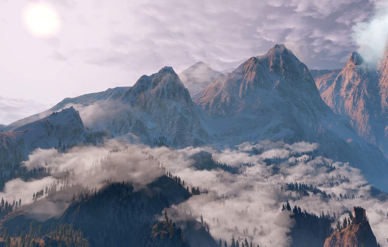 Фото обои Облака, Горы, Снег, Лес, Ведьмак, The Witcher, The Witcher 3 Wild Hunt, Ведьмак 3 Дикая …