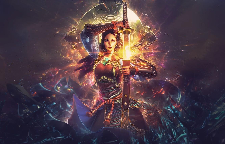 Фото обои сияние, меч, катана, sword, katana, fantasy art, beautiful woman, radiance, Smite, красивая женщина, Amaterasu, Аматэрасу, …