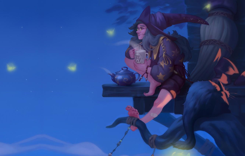 Фото обои ночь, чаепитие, ведбма, Ekaterina Shapovalova, арт фэнтези, Illustration for the Witch Artbook