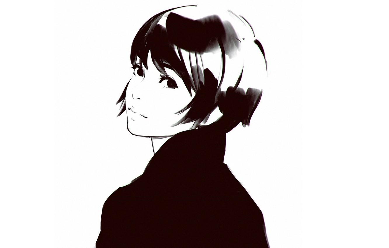 Фото обои стрижка, графика, черно-белая, портрет девушки, вполоборота, Илья Кувшинов