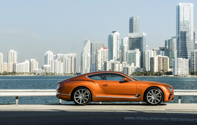 Фото обои купе, Bentley, набережная, 2019, Continental GT V8