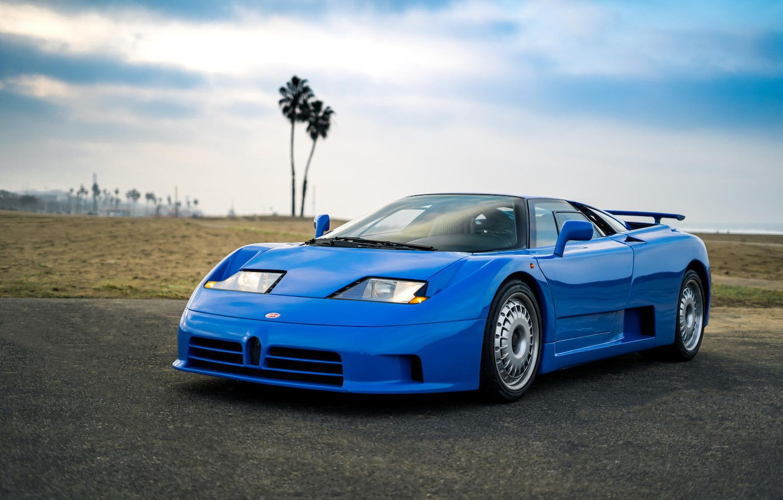 Фото обои Blue, Beach, Bugatti EB 110