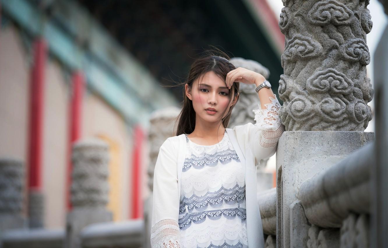Фото обои взгляд, девушка, азиатка, боке