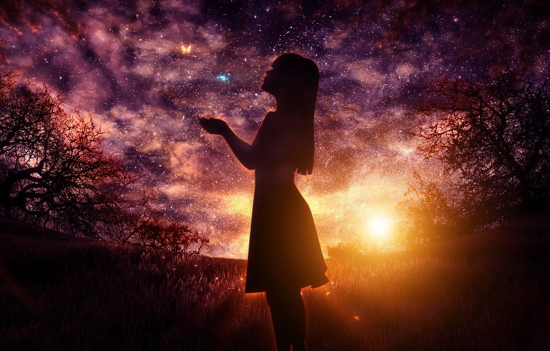 Фото обои girl, fantasy, sky, digital, sunset, art, stars, butterflies