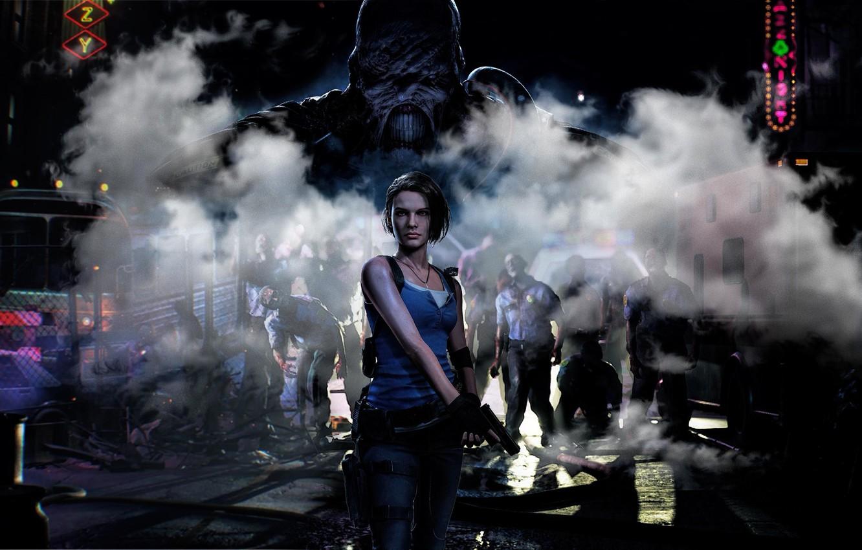 Фото обои Игра, Пистолет, Улица, Автобус, Оружие, Zombie, Зомби, Game, Nemesis, Jill Valentine, Resident evil 3
