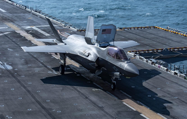 Фото обои истребитель, палуба, Lightning II, F-35B
