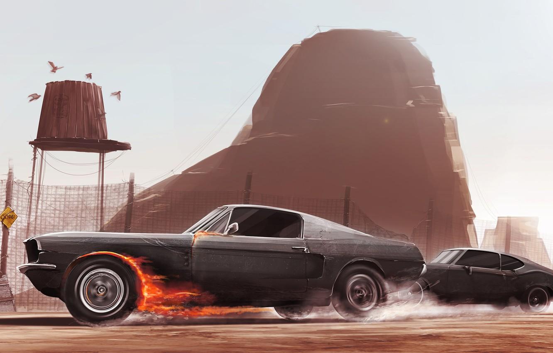 Фото обои Mustang, Ford, Авто, Рисунок, Огонь, Машина, Скорость, Две, Погоня, Car, Race, Арт, Driver, Illustration, Animation, …