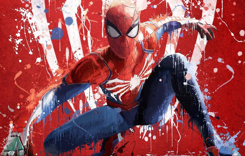 Фото обои абстракция, креатив, фон, краски, арт, костюм, Art, супергерой, Splash, Человек-паук, Spider-Man