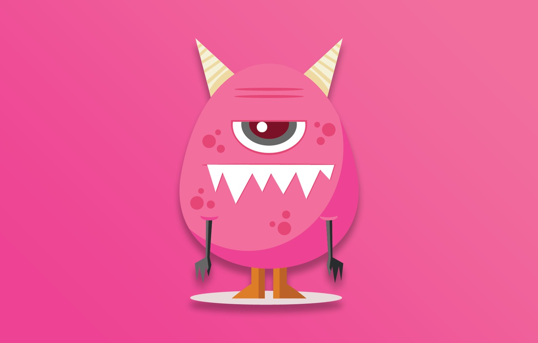 Фото обои Monster, horns, minimalism, cartoon, eye, digital art, artwork, creature, simple background, teeth, pink background