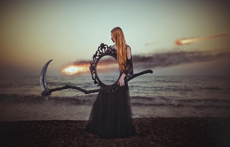 Фото обои девушка, берег, зеркало, коса