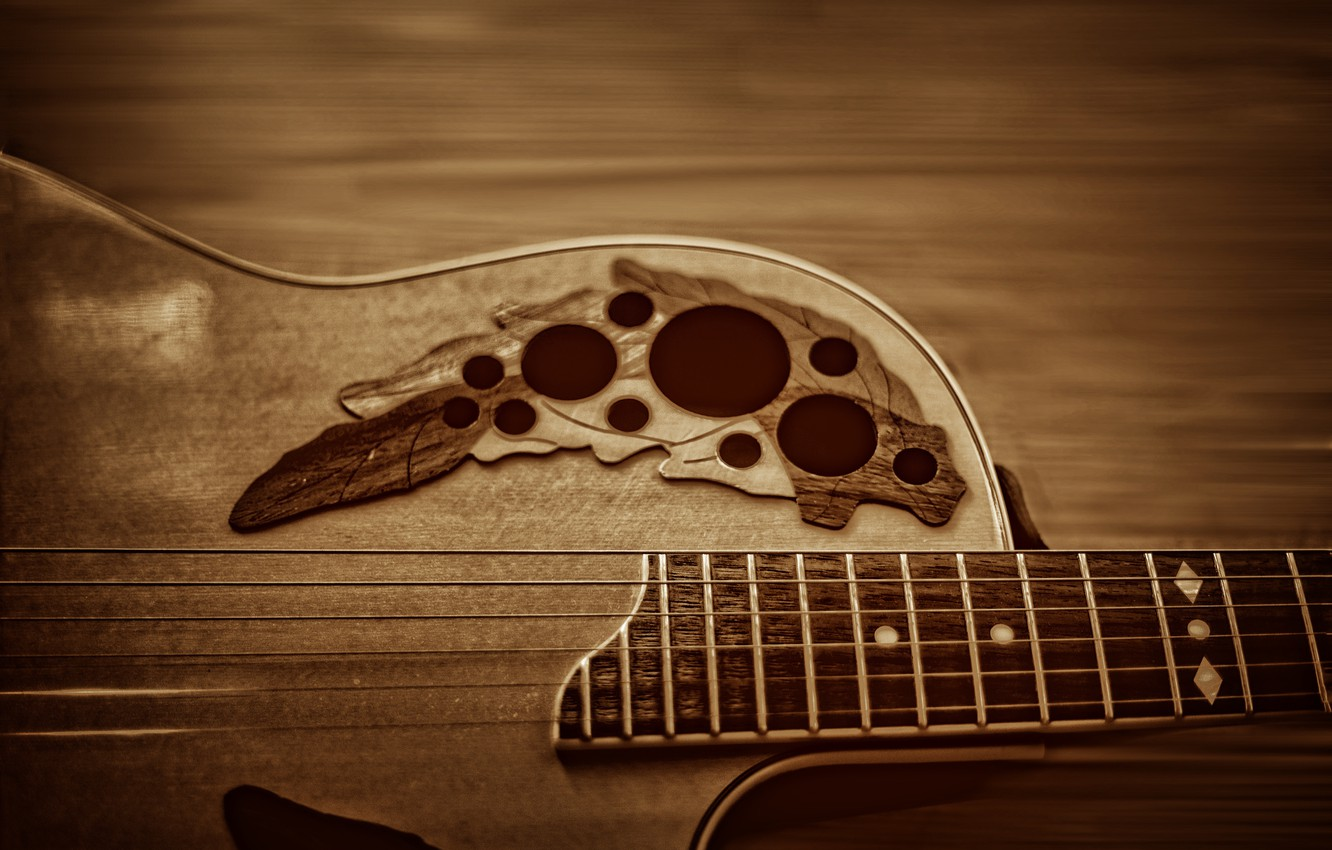 Фото обои music, wood, strings, musical instruments, guitars, Ovation, Kide & JC, Kide fotoart