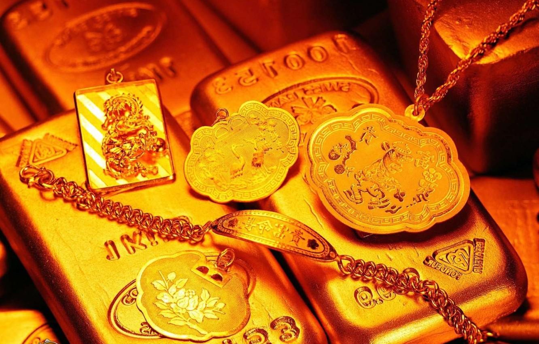 Фото обои золото, деньги, слиткки