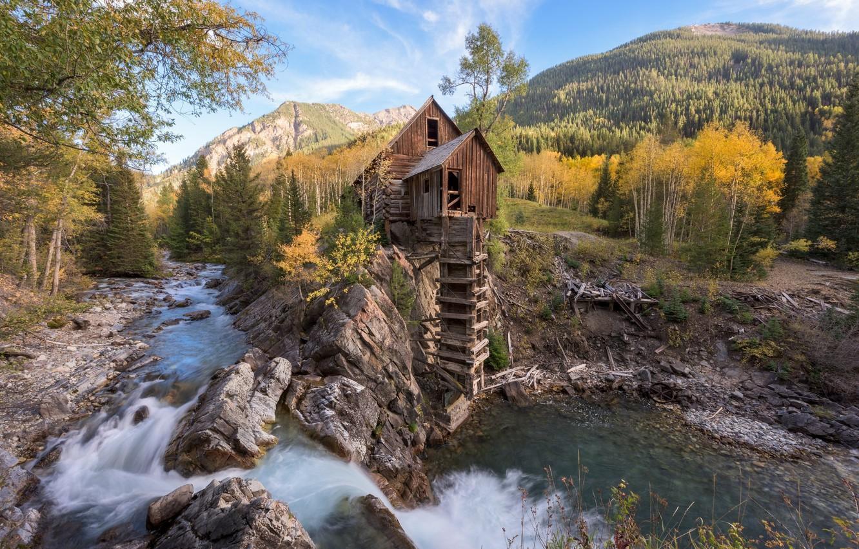 Фото обои лес, горы, река, мельница, Crystal Mill