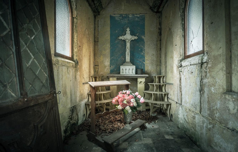 Фото обои цветы, крест, натурализм